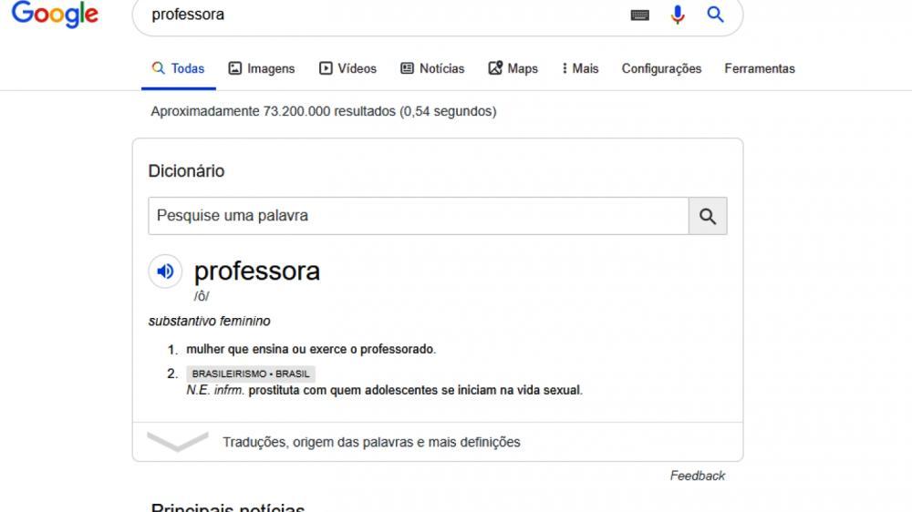 Pesquisa no Google mostra termo
