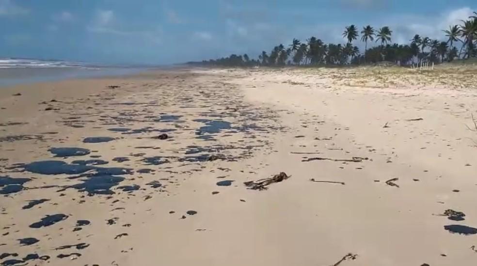 Manchas apareceram na areia da praia.