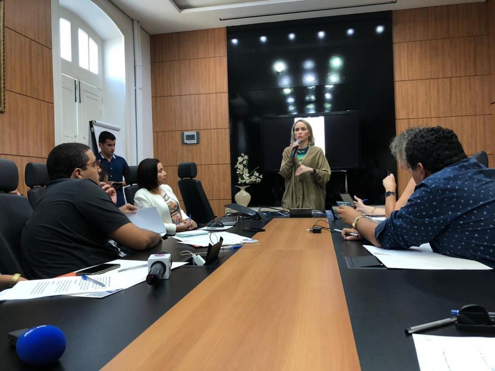 Secretária Fernanda Pacobahyba apresentou a novidade à imprensa. (Foto: Andson Lima/TV Cidade)