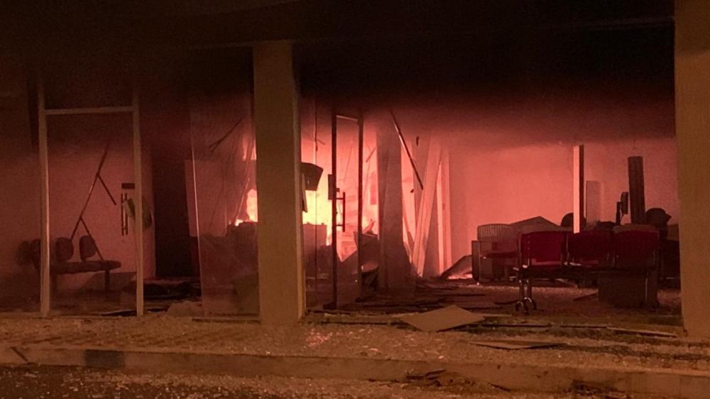 Princípio de incêndio foi registrado dentro do banco de Morrinhos após ataque dos suspeitos.