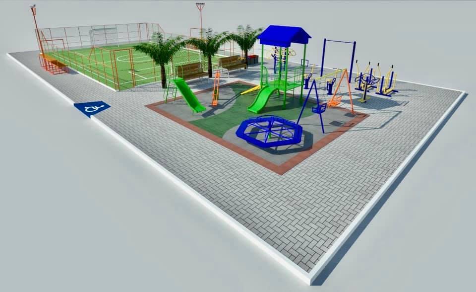 Projeto em 3D na nova praça de Caxitoré com areninha